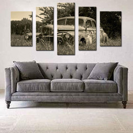 5 picture combination wall art old car in field in rural painting the picture print on canvas car pictures for home decor