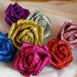 $enCountryForm.capitalKeyWord NZ - Modern Style 50 PCS PE Foam Rose Flower 6cm Glitter Rose Head Handmade DIY Wedding Home Decoration Wholesale Price