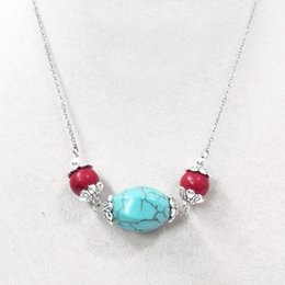 ruby stone necklace 2019 - 18'' 15x20mm Turquoise Stone Red Bead Choker Necklace Silver Chain discount ruby stone necklace