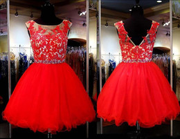 Longueur De Genou En Dentelle Ouverte Pas Cher-2017 Real Picture Red Lace Short Homecoming Robes En STOCK Cheap Beaded Sparkly Knee Longueur Sexy Open Back Prom Dresses Evening Wears