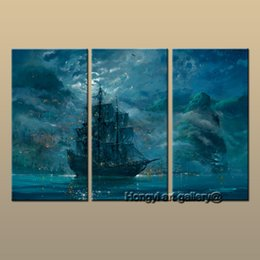 Best Canvas Prints Australia - Best Gift 3 Panel Modern Contemporary Fantasy Ship Sailing Oil painting Art wall Large HD Picture Printed On Canvas Home Decor Landscape