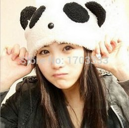 Discount fedex beanie 60pcs lot Girls Hat Gift Soft Plush Cartoon Animal Panda Cap Beanie DHL Fedex Free shipping