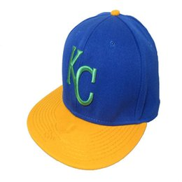 $enCountryForm.capitalKeyWord UK - Fashion Retro Team Bull Royals Fitted Caps KC Letter Baseball Cap Embroidered Team KC Letter Size Flat Brim Hat Royals Baseball Cap Size