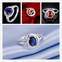 Hollow Fingers Australia - Factory direct sale 10 pieces fashion hollow round sterling silver finger ring women's 925 silver three colors gemstone Rings GTR049