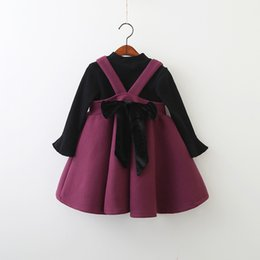 Candy Girl Niños Ropa Baratos-Everweekend Kids Kids Candy Color 2pcs Suspender Bow Tutu Ruffles Baby Dress y Negro Flare Sleeves Ropa de Otoño