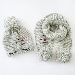 $enCountryForm.capitalKeyWord UK - Wholesale Ash Toddler Furry Hat &Scarf Set Eye Embroidery Crochet Baby Beanies Kids Fall Winter Baby Cap Handmade Windproof Earmuffs Cap