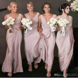 0b68893821f9 Cheap 2018 Bridesmaid Dresses For Summer Beach Garden Weddings Sheath V  Neck Pleats Long Wedding Guest Maid of Honor Gowns Plus Size