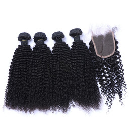 Discount kinky hair weave light brown - Brazilian Kinky Curl Human Hair Weaves Extensions 4Bundles with Closure Free Middle 3 Part Double Weft Dyeable Bleachabl