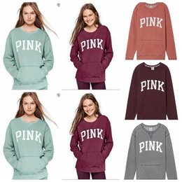 Barato Hoodie Da Parte Superior Do Casaco-Pink Letter Hoodies Love Pink Jacket Mulheres Rosa Sweatshirts Letter Print Tops Pullover Hoodie Coat Long Sleeve Sweater 7 cores OOA3253
