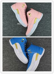 Barato Sapatos De Tecido Barato E Branco-2017 Novo novo retro 12 12s XII GS Pink Blue Gold White mens Basquete Shoes Sneakers Mulheres High Top 12s Sports Training designer For Sale