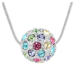 $enCountryForm.capitalKeyWord UK - Colorful Balls Pendant Necklaces For Women Fashion Austria Crystal Jewelry For Lover 18kgp cheap necklace jewelry 10pcs sales B65