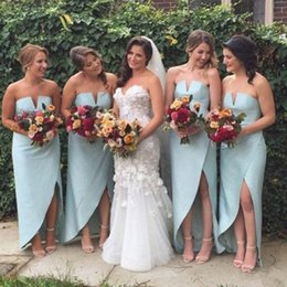 UniqUe orange color online shopping - 2018 Unique Charming Simple Design Side Split Sexy Cheap Wedding Party Bridesmaid Dresses Junior Custom Made