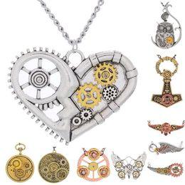 Vintage Style Pendant Necklace Canada - Men & Womens Vintage Steampunk Gears Charm Pendant Necklace Chain Multi Style