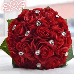 Wholesale 3color Rose flower white Pink Red Color Bridal Bridesmaid wedding bouquet artificial flower rose crystal bridal bouquets