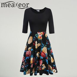 Robes Moyennes Pour La Fête Pas Cher-Vente en gros - Meaneor Ladies Large Swing Plissé Robe Medium Sleeve Retro 60S 70S Vintage Dress Floral Print Slim Casual Party Vestidos