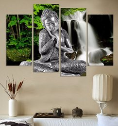 buddha art living room Canada - 4 Panel Abstract Printed Buddhism Lord Buddha Painting Canvas Art Buda Picture Paintings Cuadros For Living Room Unframed FX021
