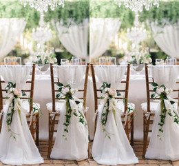 clear wedding chairs wholesale Australia - Ivory Chair Sash for Weddings with Big 3DChiffon Delicate Wedding Decorations Chair Covers Chair Sashes Wedding Accessories