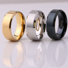 Großhandel Modeschmuck 8mm edelstahl ring band titanium silber schwarz gold männer größe 6 bis 13 hochzeit verlobungsringe