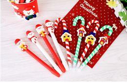 Plastic ballPoints Pens online shopping - Cute Christmas Snowman Ceramic Ball Pen crutches Cartoon Christmas Santa Claus Ballpoint Office School Stationery