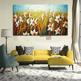 simple flower oil painting Canada - 100% Hand Painted Landscape Oil Painting on Canvas White Flowers Modern Simple Wall Art Home Decoration