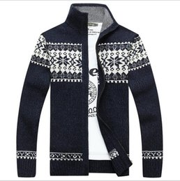 Barato Mens Camisola Extra De Warm-2017 New Fashion Mens Cardigan Sweater Stand Collar Men's Fleece Cashmere Winter Warm Thick Velvet Sweaters Vestuário homens / mulheres casacos