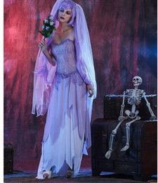 Cosplay Sexy Mariée Pas Cher-2017 Halloween Sexy Femmes adultes Ghost Bride Cosplay Party Costumes Deguisement Sexy costume féminin