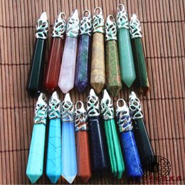 Prisms Pendants online shopping - Natural Six Prism Pendant colored Fluorite Fluorite Wheel Six Arrises Gem Crystal Pendant Between The Brows