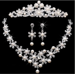 Discount pearl jewelry set price - Bridal crowns Accessories Tiaras Hair Necklace Earrings Accessories Wedding Jewelry Sets cheap price fashion style bride