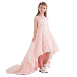 $enCountryForm.capitalKeyWord UK - New Sweet Lace Flower Girl Dresses for Wedding High-low Short Front Long Back Sleeveless Long Party Gown