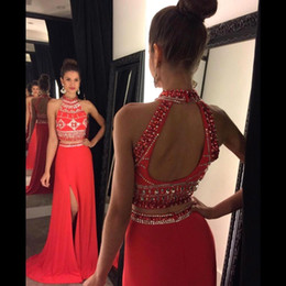 Barato Veste Duas Fendas Laterais-Beaded Collar Two Pieces Prom Dresses 2016 Sexy Oco Back High Split Side com Beads A Line Chiffon Pageant Party Evening Gowns BA2195