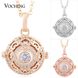 China Mexican Chime Angel Ball Necklace Luxury Cubic Zirconia Heart 3 Colors Plating Stainless Steel Chain VA-216 cheap gold plated angel chain suppliers