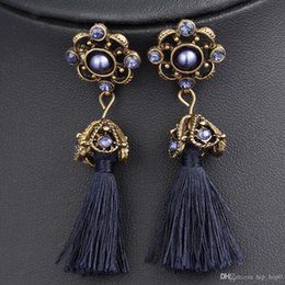 2018 beautiful earrings girls Long Tassel Earrings Bohemian Statement Earrings Ethnic Vintage Quartz Purple Crystal Jewelry Beautiful Gift For Girl Wo