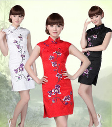 $enCountryForm.capitalKeyWord Canada - BLACK WHITE RED Chinese cotton Women's Dress embroidery flower Cheongsam Qipao Coat Skirt evening dress Bridal gown size S-3XL