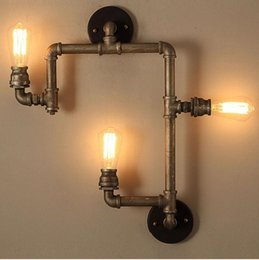 Wholesale Industrial pipe led wall lighting heads wall sconces vintage bronze wall light iron American country indoor lights