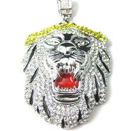 $enCountryForm.capitalKeyWord Canada - Hip Hop Silver Gold Iced Out Lion Head Pendants Necklaces Rhinestone Kolye Collane Hiphop Colar Masculina Pingente Masculino Men