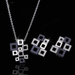 indian imitation diamond necklace sets NZ - Classic Magic Cube CZ Diamond Necklaces Pendant & Earrings 18K Gold Rhodium Plated Crystal Party Jewelry Sets For Women