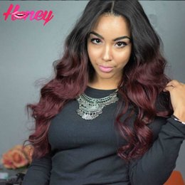 $enCountryForm.capitalKeyWord Canada - Ombre Human Hair Body Wave Wigs Two Tone 99J Color Glueless Lace Front Full Lace Wigs Ombre Wavy Brazilian Hair Wigs For America