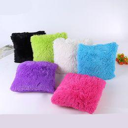 $enCountryForm.capitalKeyWord NZ - Long Plush Pillowcase Comfortable Soft Warm Cushion Cover 14 colors 43x43cm Suede Luxury Pillow Cover Bed Sofa Car Christmas decorations