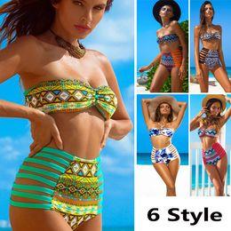 $enCountryForm.capitalKeyWord Canada - DHL Swimwear Sexy Two Piece Bikini Women Ladies Printed Straped Swimwear Sets High Waist Push Up Padded Swimsuits WX-S08