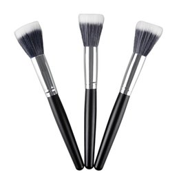 black powder NZ - M187 Makeup Brush Single Face Powder Brush Blush Brush Black Wood Makeup Tool with Aluminum Tube 2805004