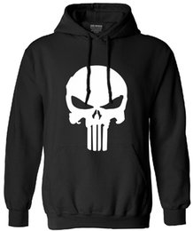 Discount skull hoodies wholesale Wholesale- the punisher long sleeve hoodies men skull harajuku streetwear 2017 autumn brand homme clothing man tracksuit