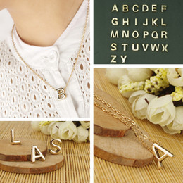 Wholesale Gold Initial Pendants Canada - Fashion Jewelry Women Gold Letters Name Initials Chain Charm Pendant Necklace Jewellry Personality Gift Initial Short Necklace From A To Z