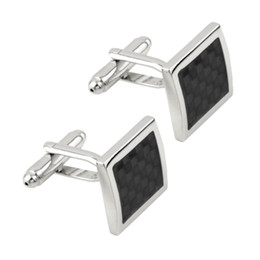 Wholesale Wholesale-Newest 2016 1pair Vintage Men's Stainless Steel Silver Square Wedding Gift Grid Laser Cuff Links Drop Shipping