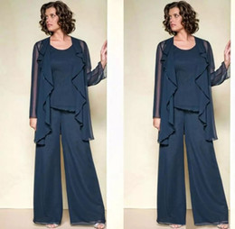 Marins Foncés Pas Cher-Dark Navy Three Pieces Mère de la mariée Pantalon Costumes Jewel Neck Beaded Robe invité de mariage Plus Size Cheap Mothers Groom Robes