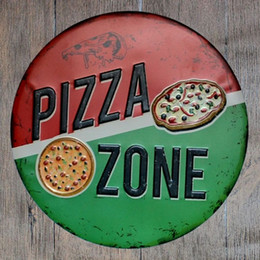 pizza signs NZ - Pizza Zone Round Retro Embossed Tin Sign Poster Wall Bar Restaurant Garage Pub Coffee Home Decor Christmas Gift