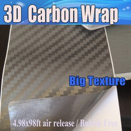 Laptops skin stickers online shopping - Grey big texture D Carbon Fibre vinyl Film Air Bubble Free Car styling Carbon laptop covering skin x20m Roll