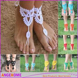 vendita all'ingrosso braccialetto alla caviglia Wedding Europa crochet sandali a piedi nudi piede gioielli cavigliera in cotone fatti a mano pizzo fiori scarpe da sposa