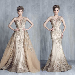 Wholesale Tony Chaaya Evening Dresses With Detachable Train Champagne Beads Mermaid Prom Gowns Lace Applique Sleeveless Luxury Party Dress
