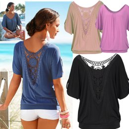 Cotton T Shirts Lace Canada - 2016 Women Casual Soild Cotton Short Sleeve T-Shirt O-Neck Lace Hollow Batwing Sleeve for women S-XL