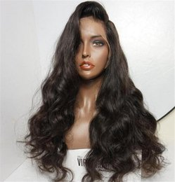 "Discount loose body synthetic wigs - Brazilian Deep Body Wave Full Lace Human Hair Wigs Pre Plucked Natural Hairline With Baby Hair 14""-24"" Wigs"